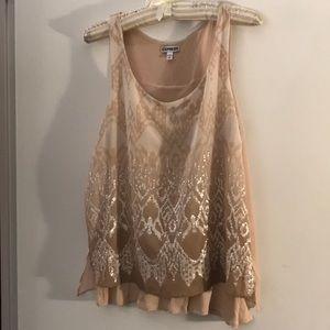 Sweet, flirty champagne blouse